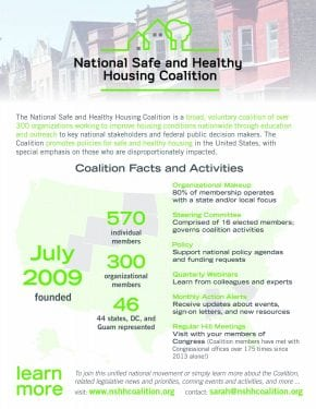 National Safe and Healthy Housing Coalition Facts and Activities