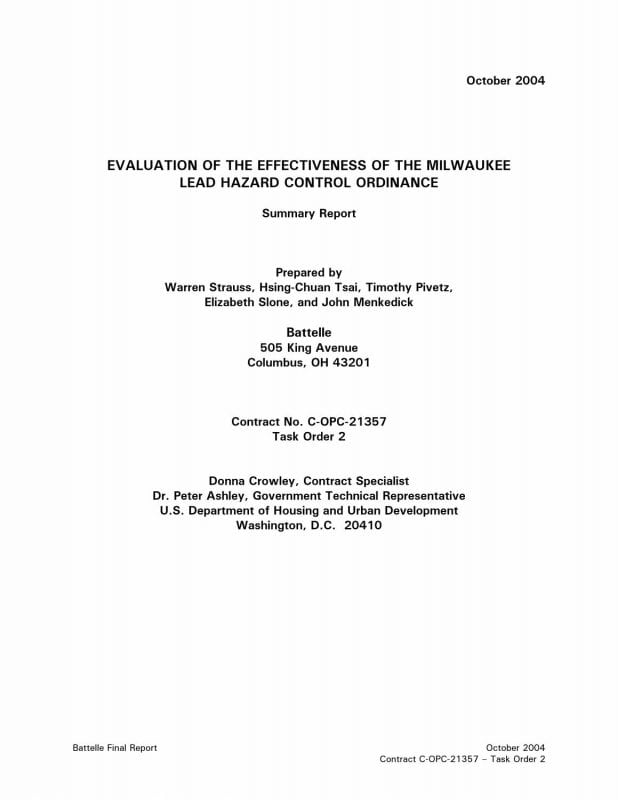 Evaluation of the Effectiveness of the Milwaukee Lead Hazard Control Ordinance: Summary Report