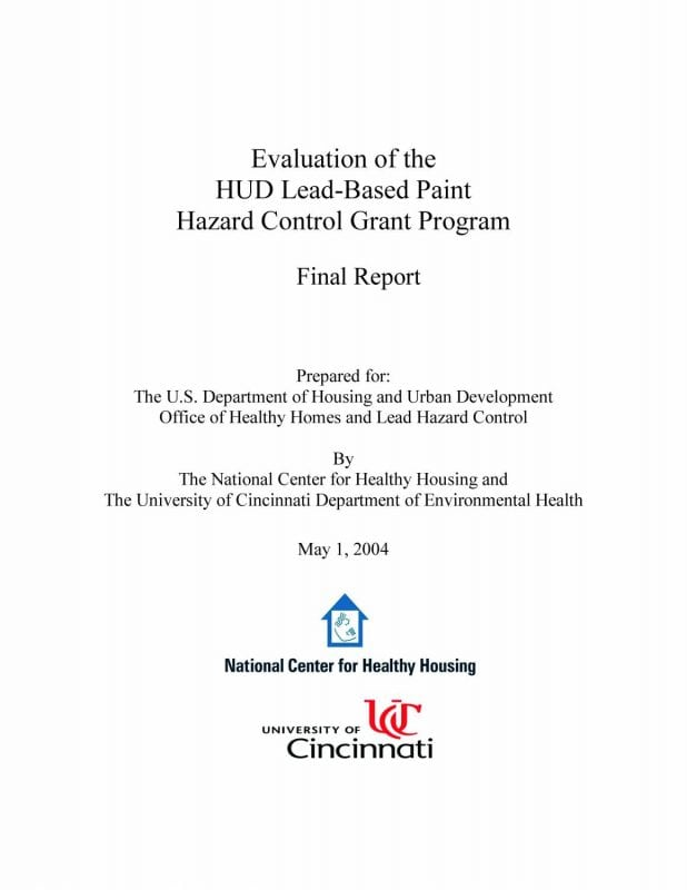 Evaluation of the HUD Lead-Based Paint Hazard Control Grant Program: Final Report