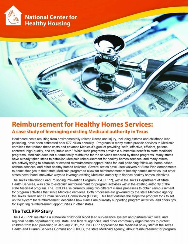 Reimbursement for Healthy Homes Services: A Case Study of Leveraging Existing Medicaid Authority in Texas