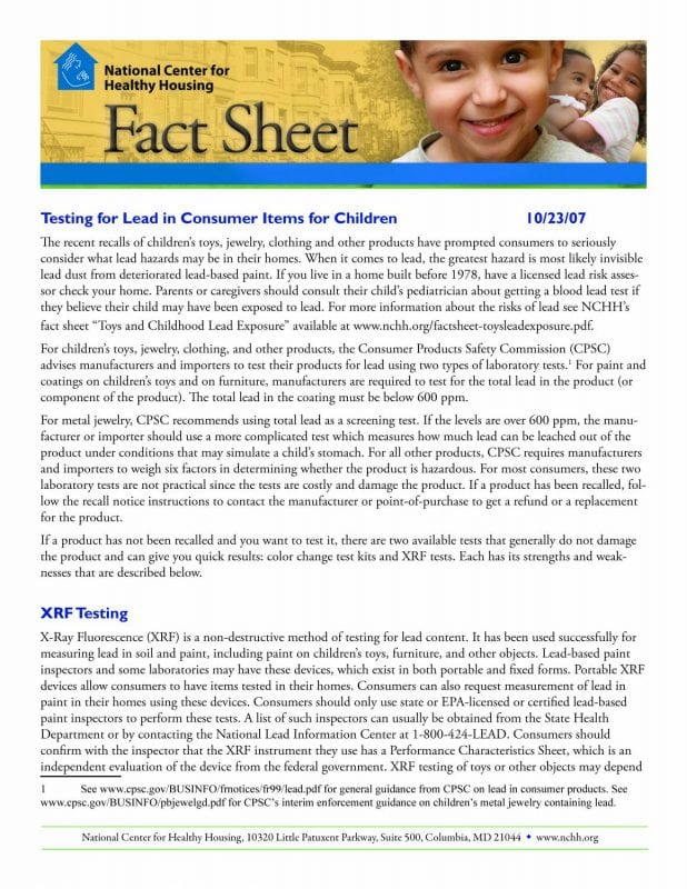 Fact Sheet: Testing for Lead in Consumer Items for Children