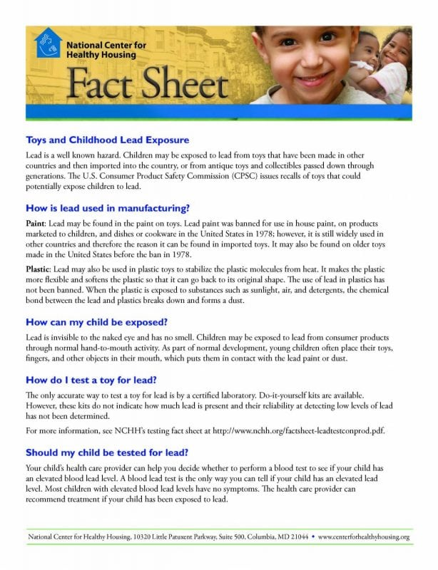 Fact Sheet: Toys and Childhood Lead Exposure