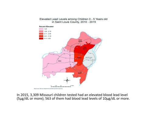 GIS Map: Elevated Blood Lead Levels in St. Louis County