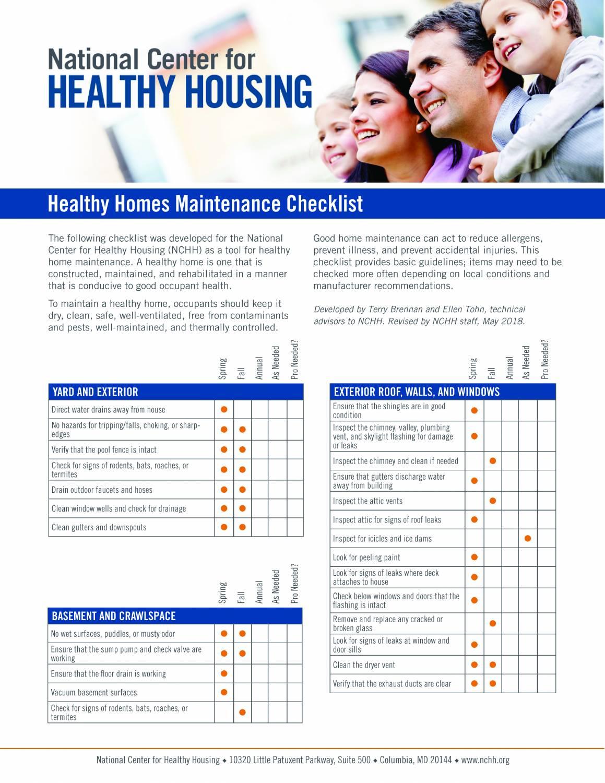 Healthy Homes Maintenance Checklist - English