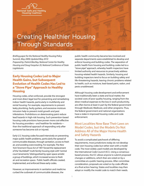 Creating Healthier Housing through Standards