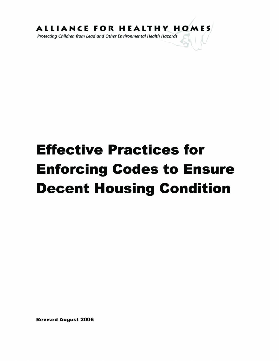 Effective Practices for Enforcing Codes to Ensure Decent Housing Condition (Revised August 2006)