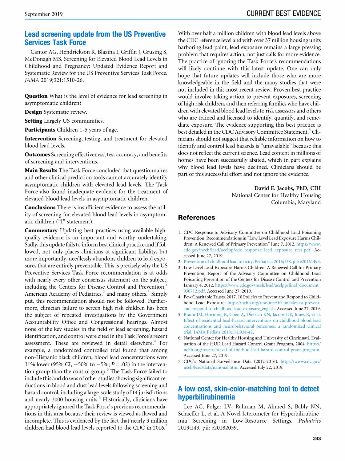 Article: Lead Screening Update from the US Preventive Services Task Force