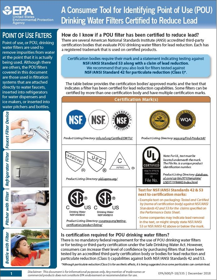 A Consumer Tool for Identifying Point of Use (POU) Drinking Water Filters Certified to Reduce Lead