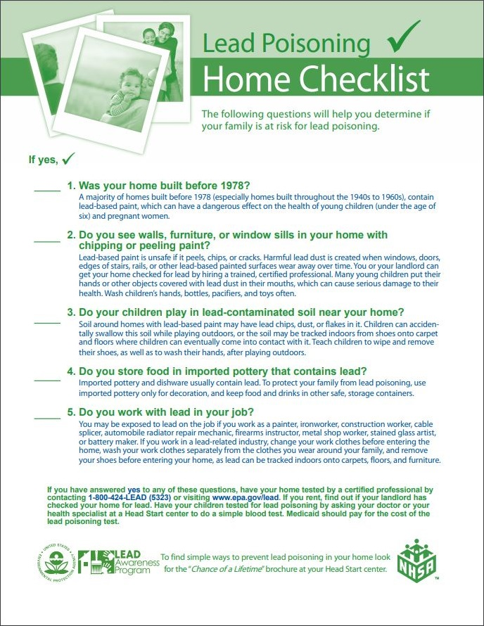 Lead Poisoning Home Checklist