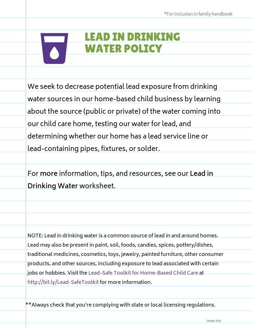 Lead-Safe Family Child Care Toolkit – Lead in Drinking Water Policy