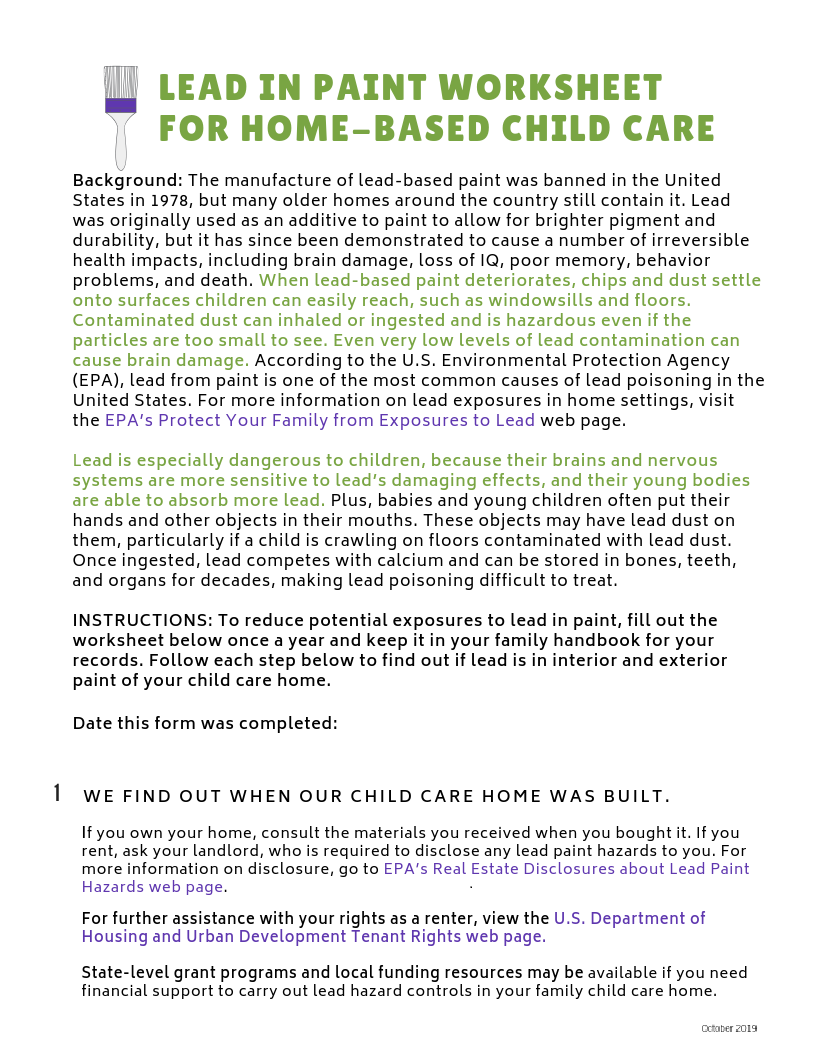Lead-Safe Family Child Care Toolkit – Lead in Paint Worksheet