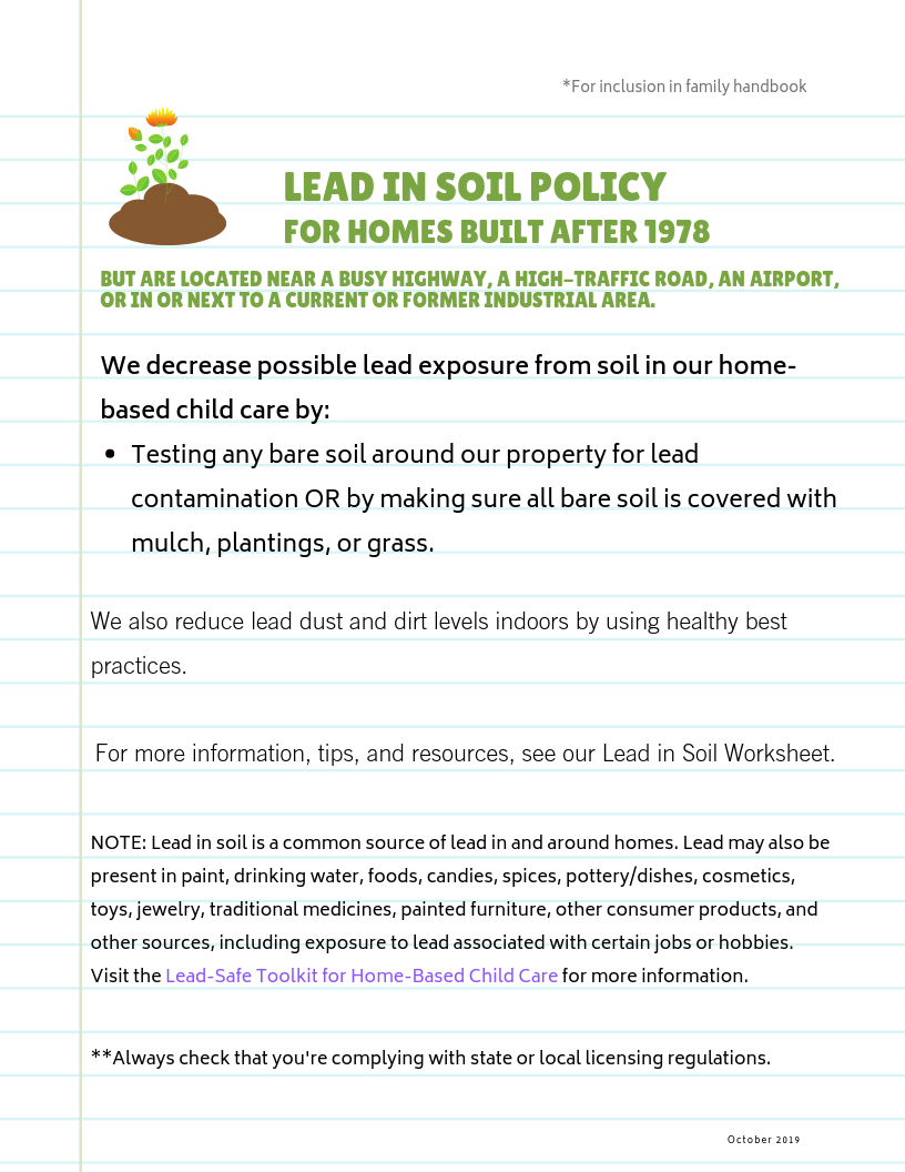 Lead-Safe Family Child Care Toolkit – Lead in Soil Policy for Homes Built After 1978