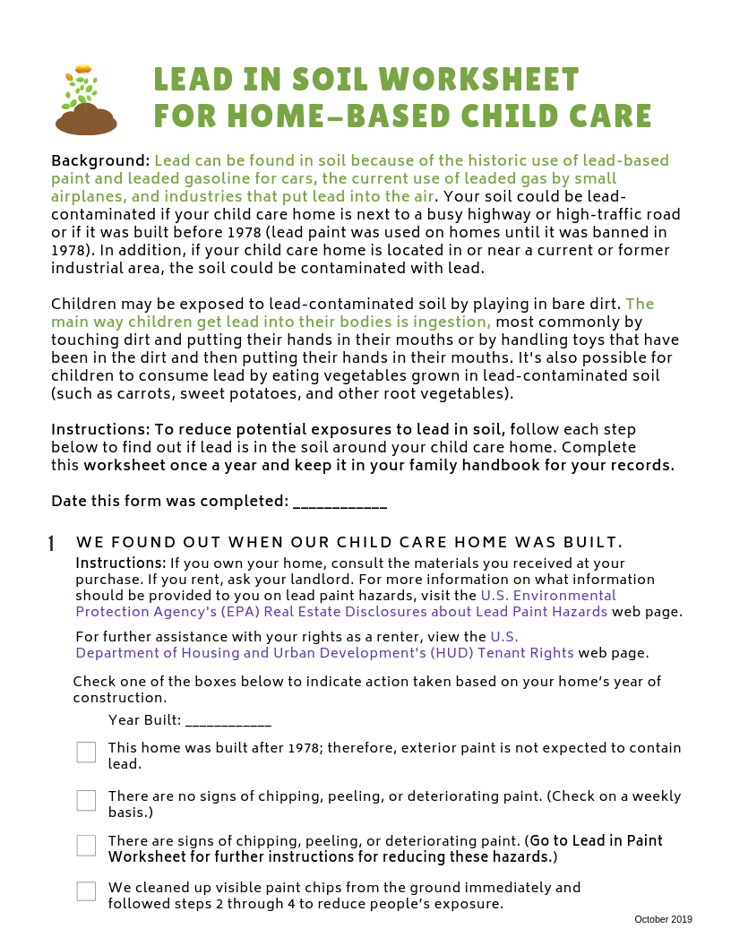 Lead-Safe Family Child Care Toolkit – Lead in Soil Worksheet