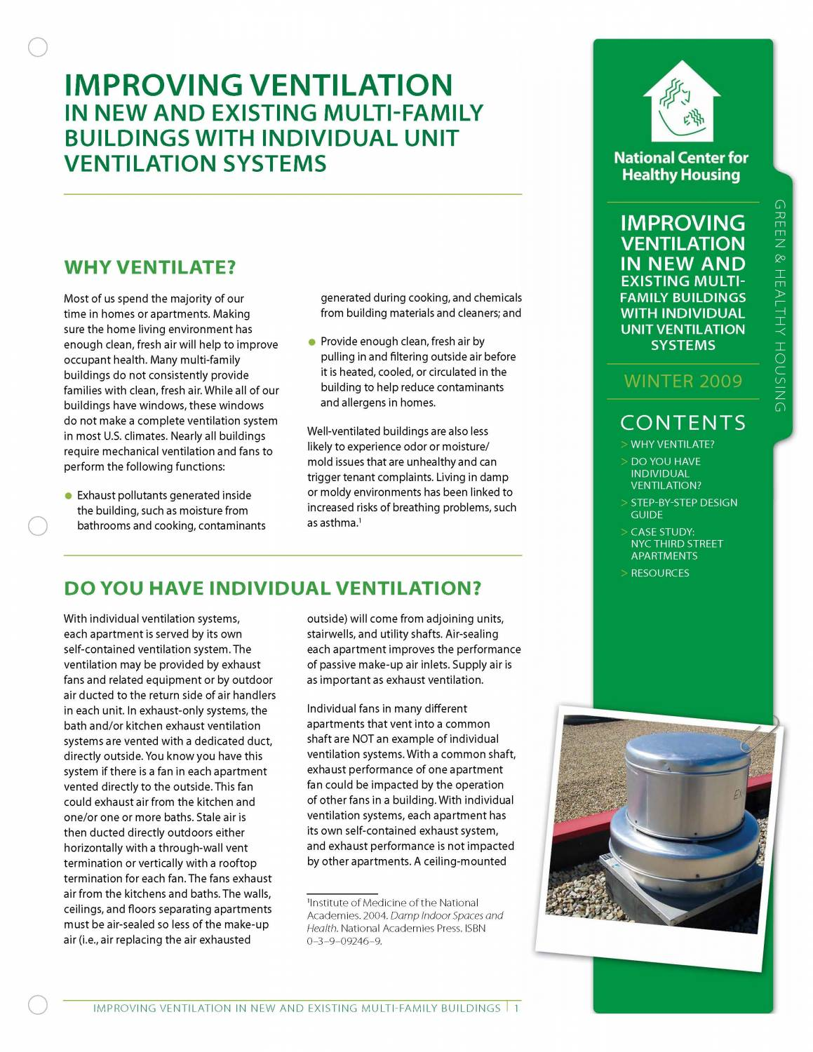 Fact Sheet: Improving Ventilation in New and Existing Multi-Family Buildings with Individual Unit Ventilation Systems