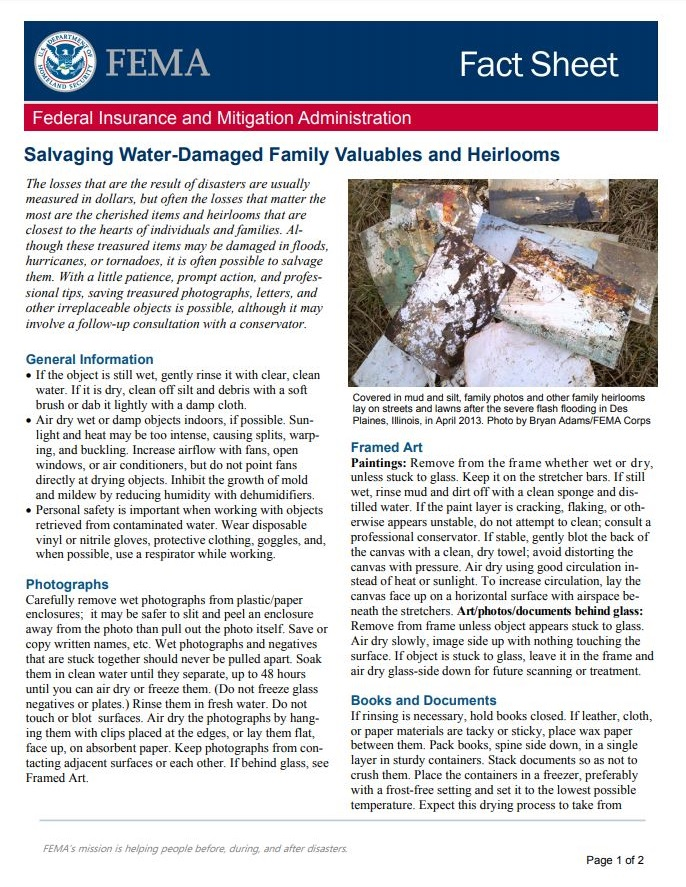 FEMA: Salvaging Water-Damaged Family Valuables and Heirlooms