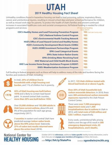 Healthy Housing Fact Sheet - Utah 2019
