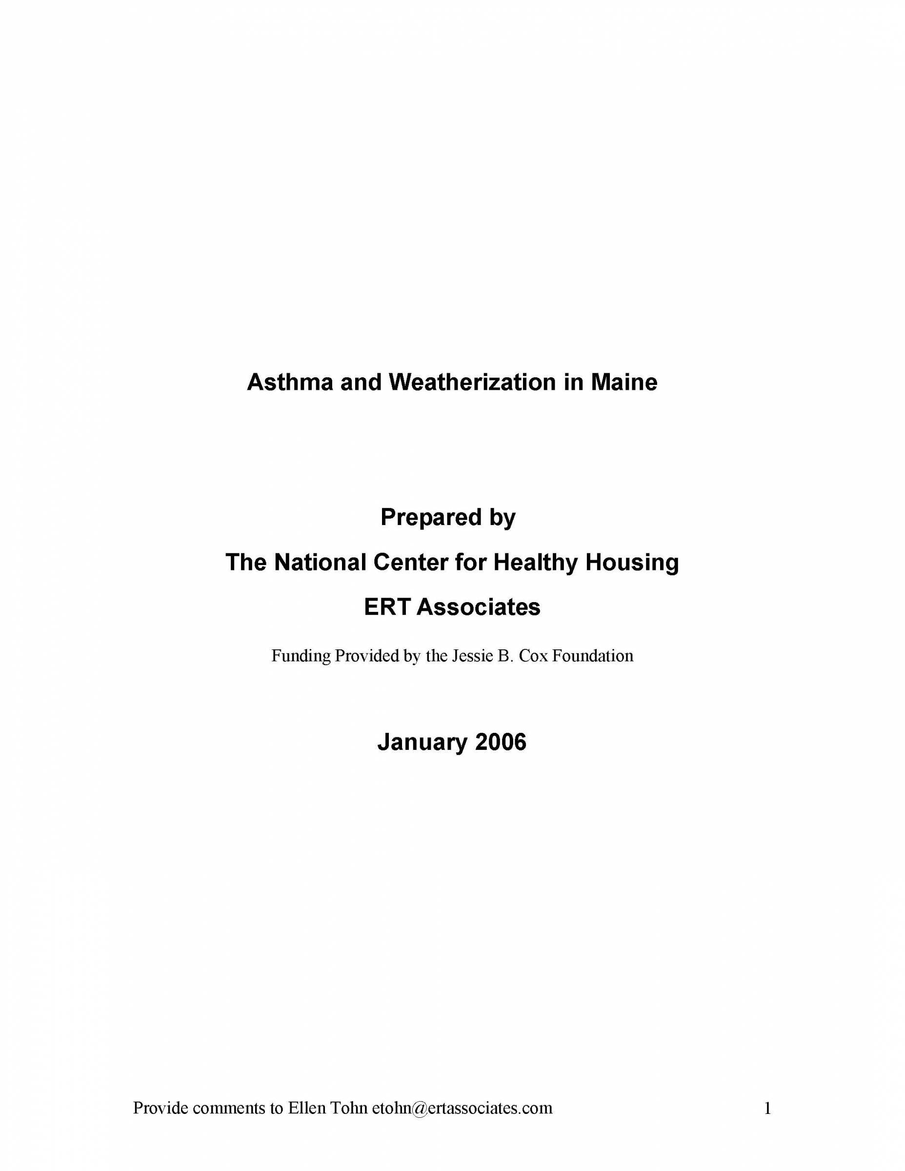 Asthma and Weatherization in Maine