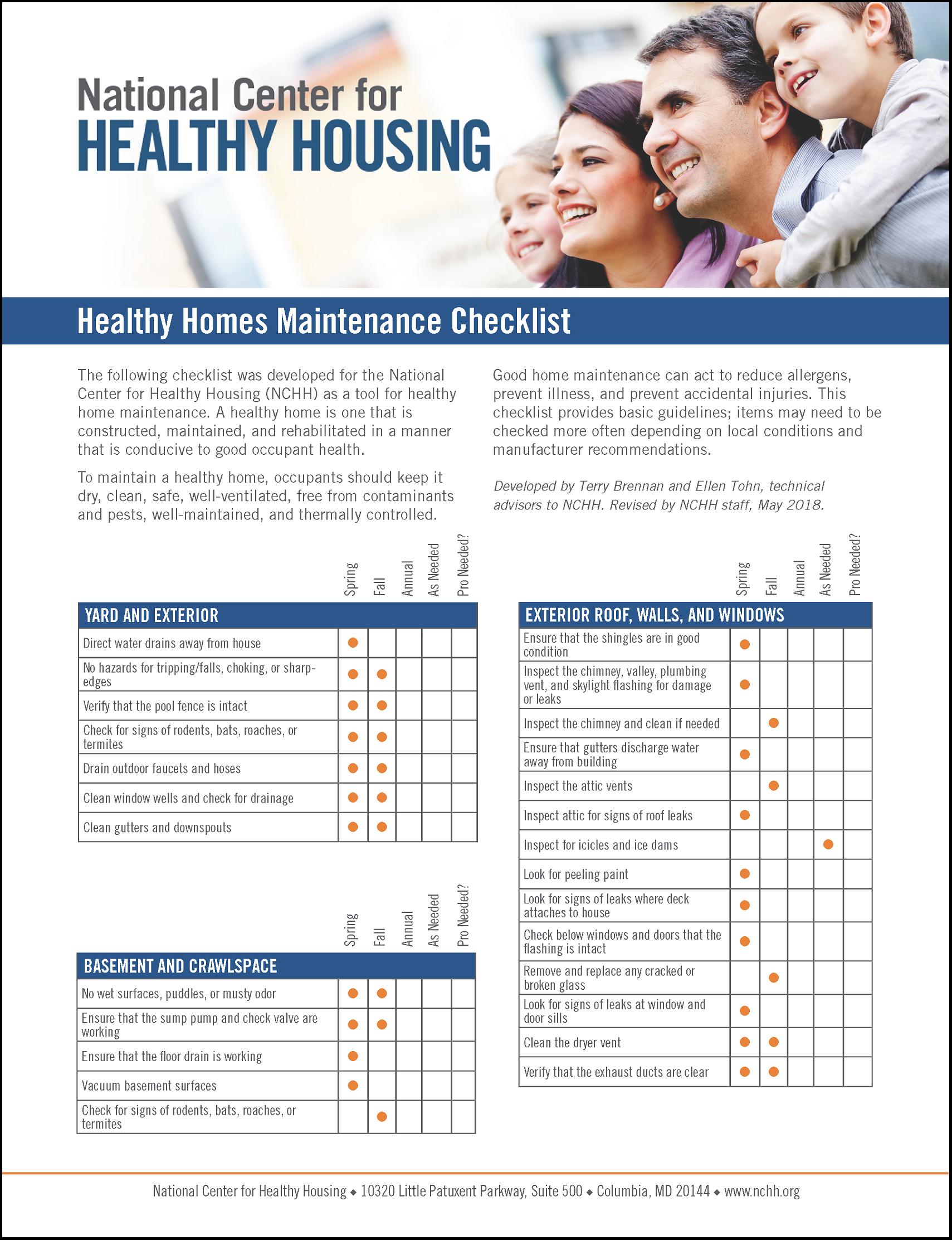 Healthy Homes Maintenance Checklist
