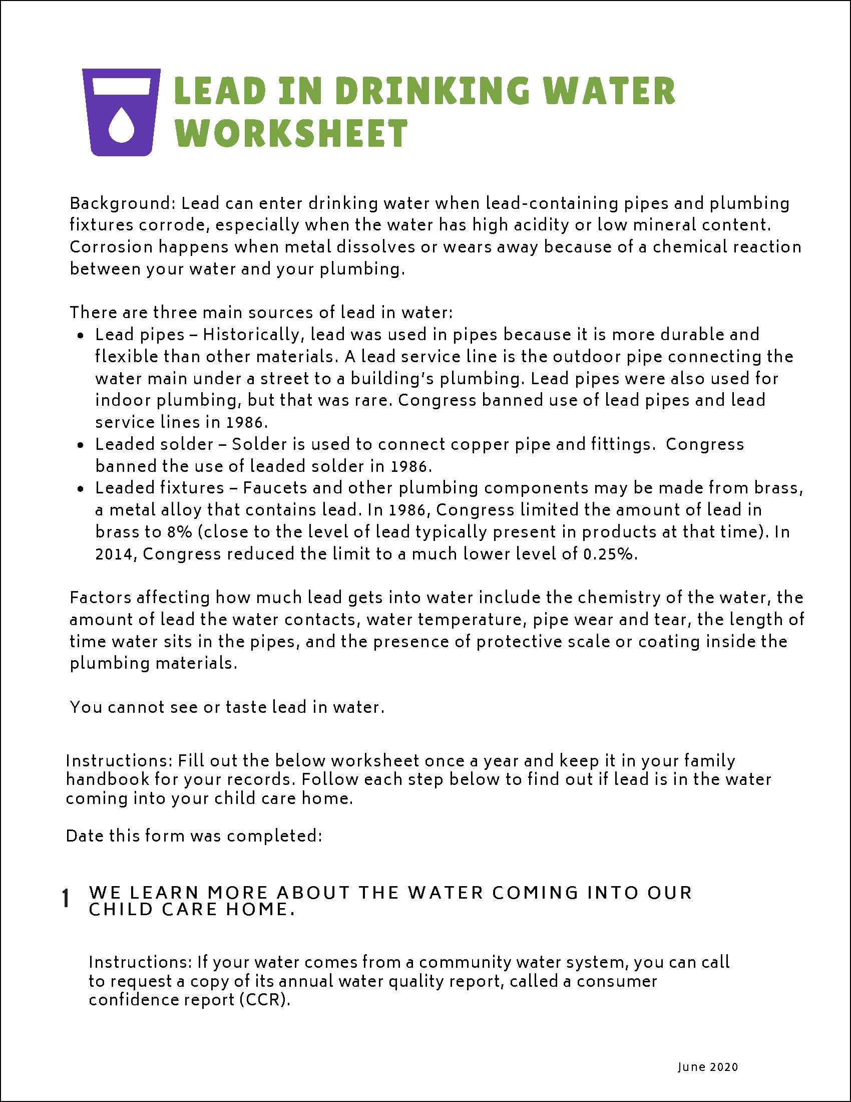 Lead in Drinking Water Worksheet