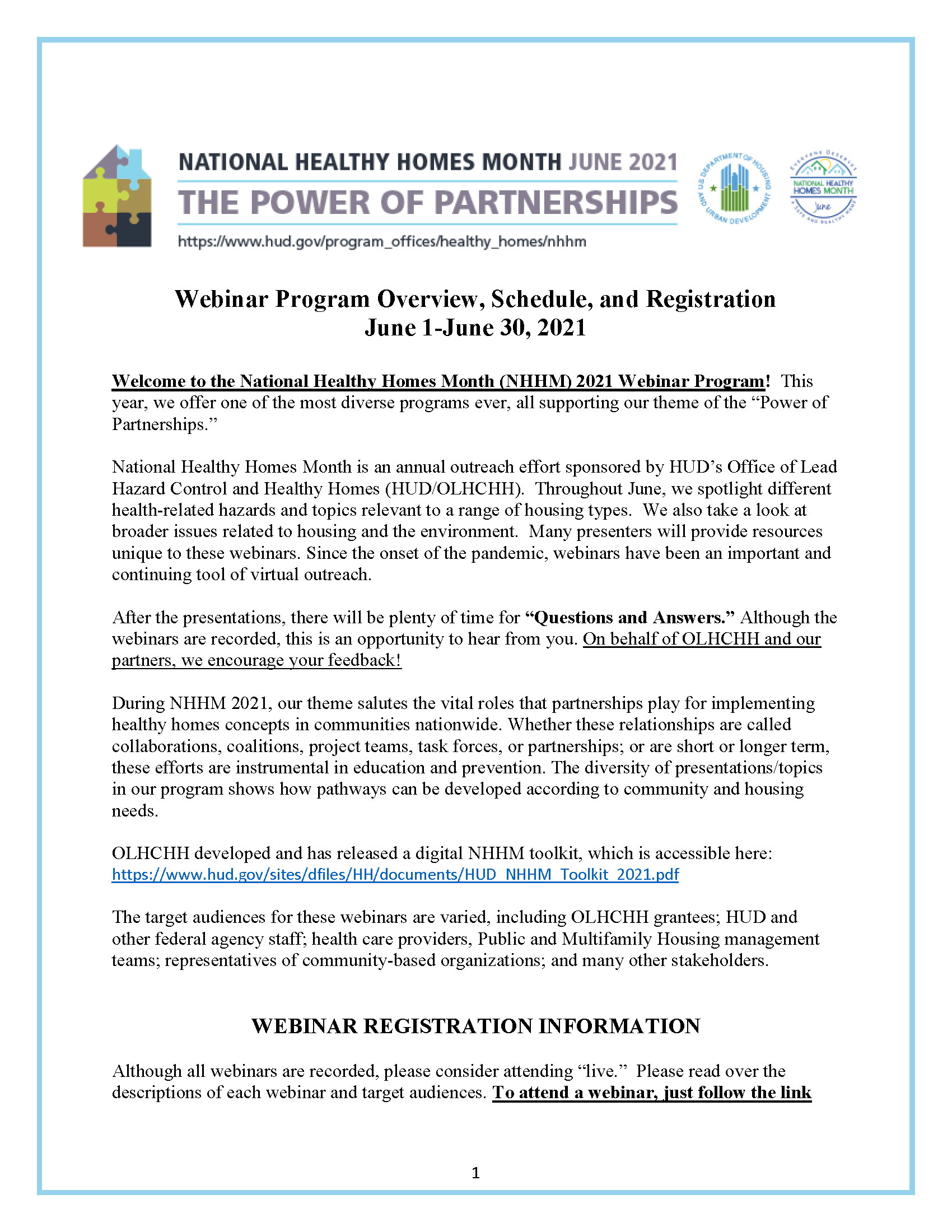 Webinar Program Overview, Schedule, and Registration