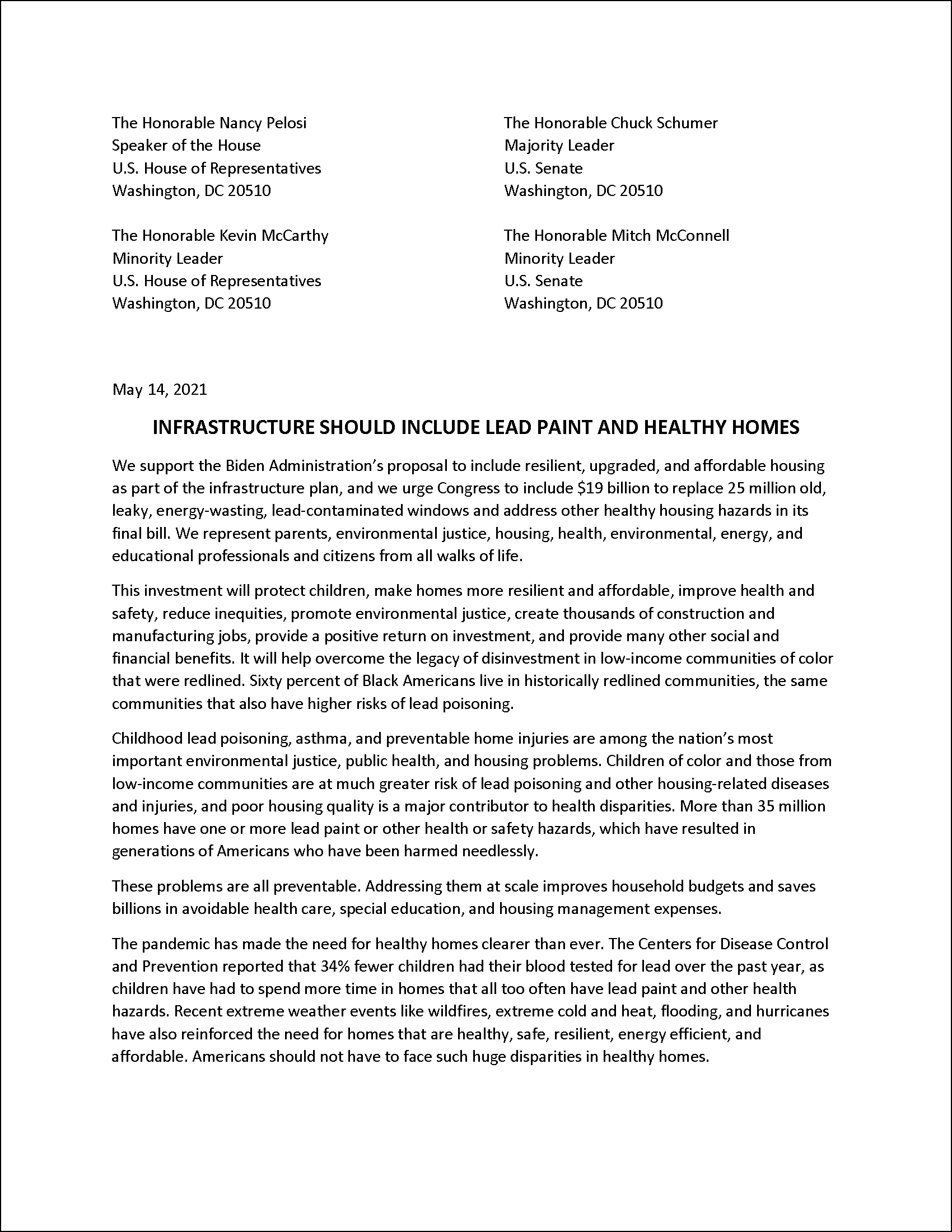 Letter to Congress on Infrastructure, Lead, and Healthy Homes