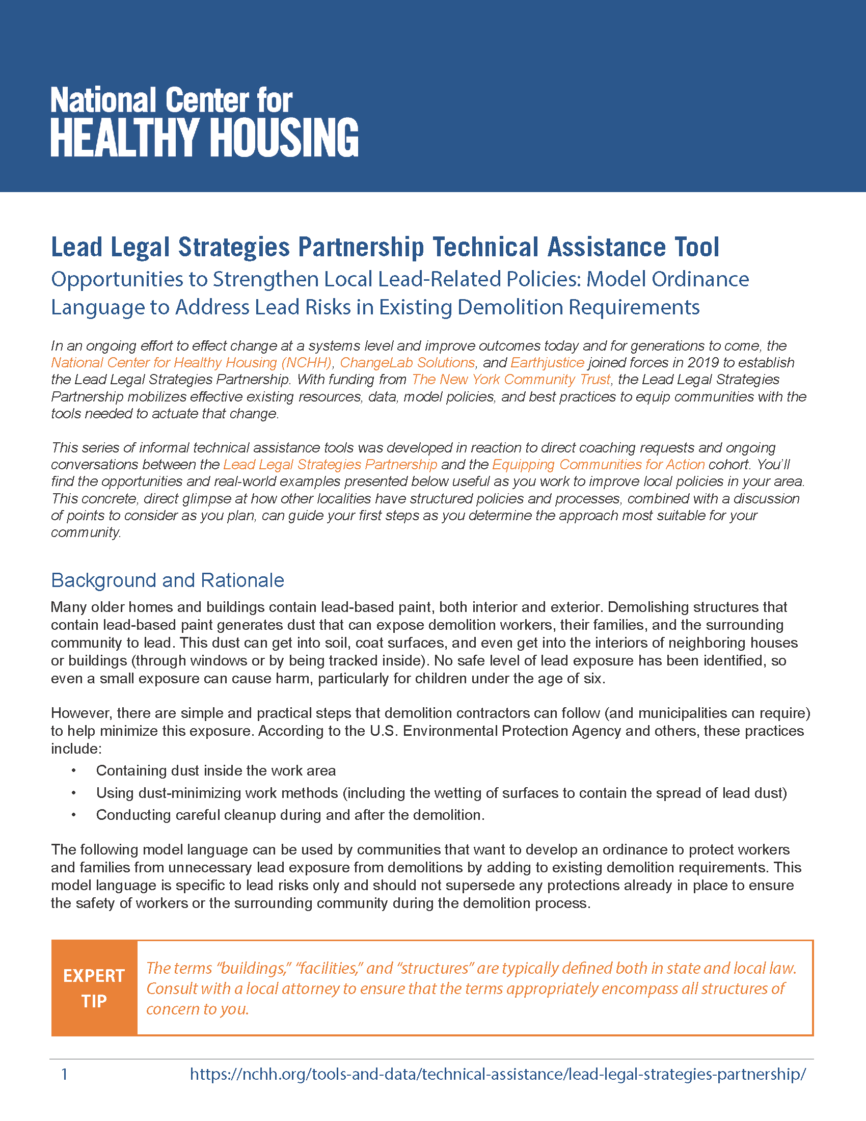 Opportunities to Strengthen Local Lead-Related Policies: Model Ordinance Language to Address Lead Risks in Existing Demolition Requirements