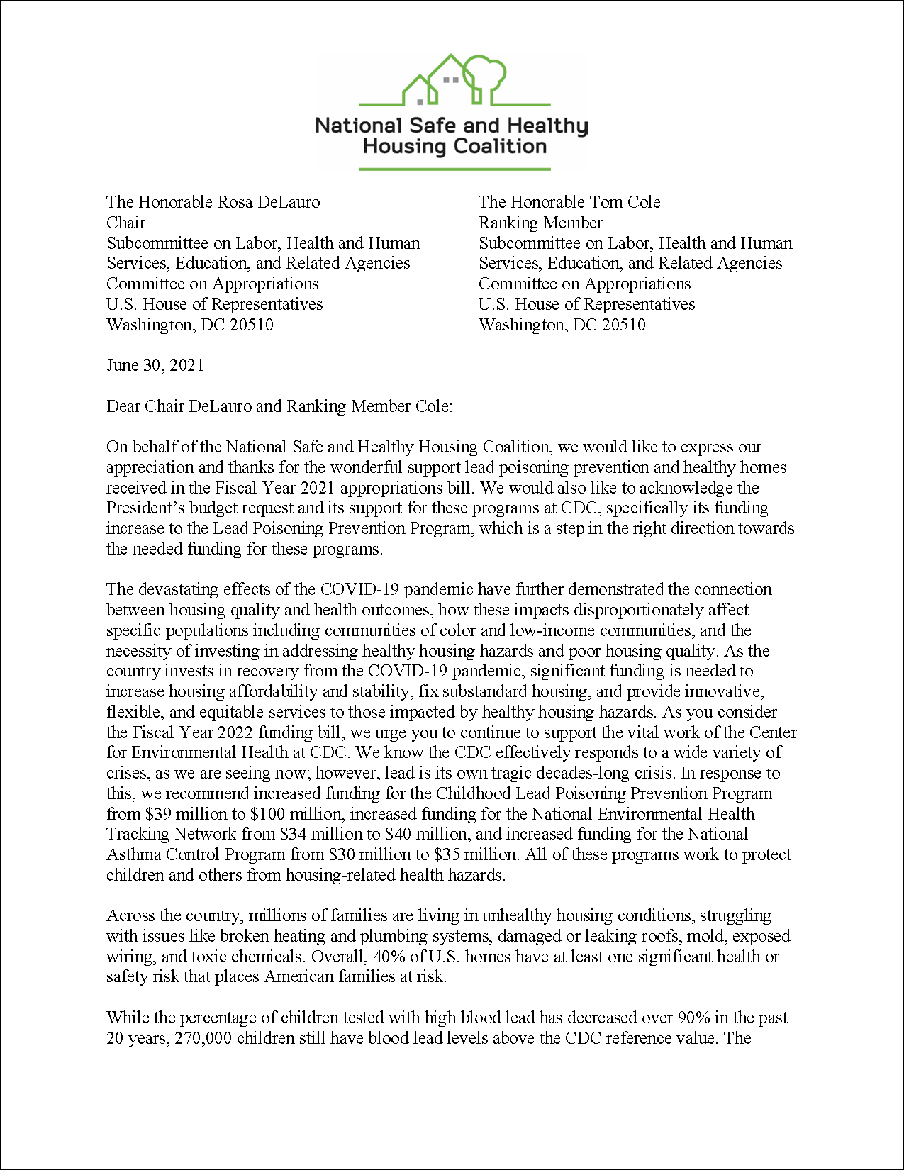 Letter: FY22 Appropriations to U.S. House: CDC Programs [2021.06.30] [NSHHC]