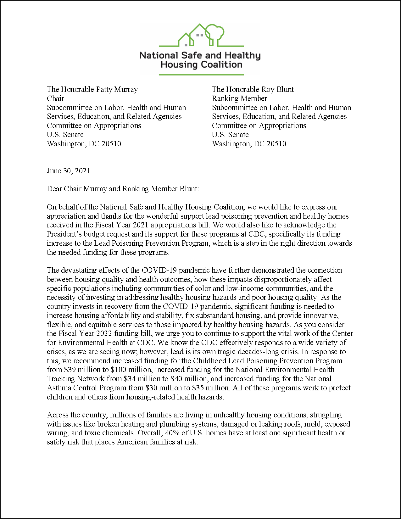 Letter: FY22 Appropriations to U.S. Senate: CDC Programs [2021.06.30] [NSHHC]
