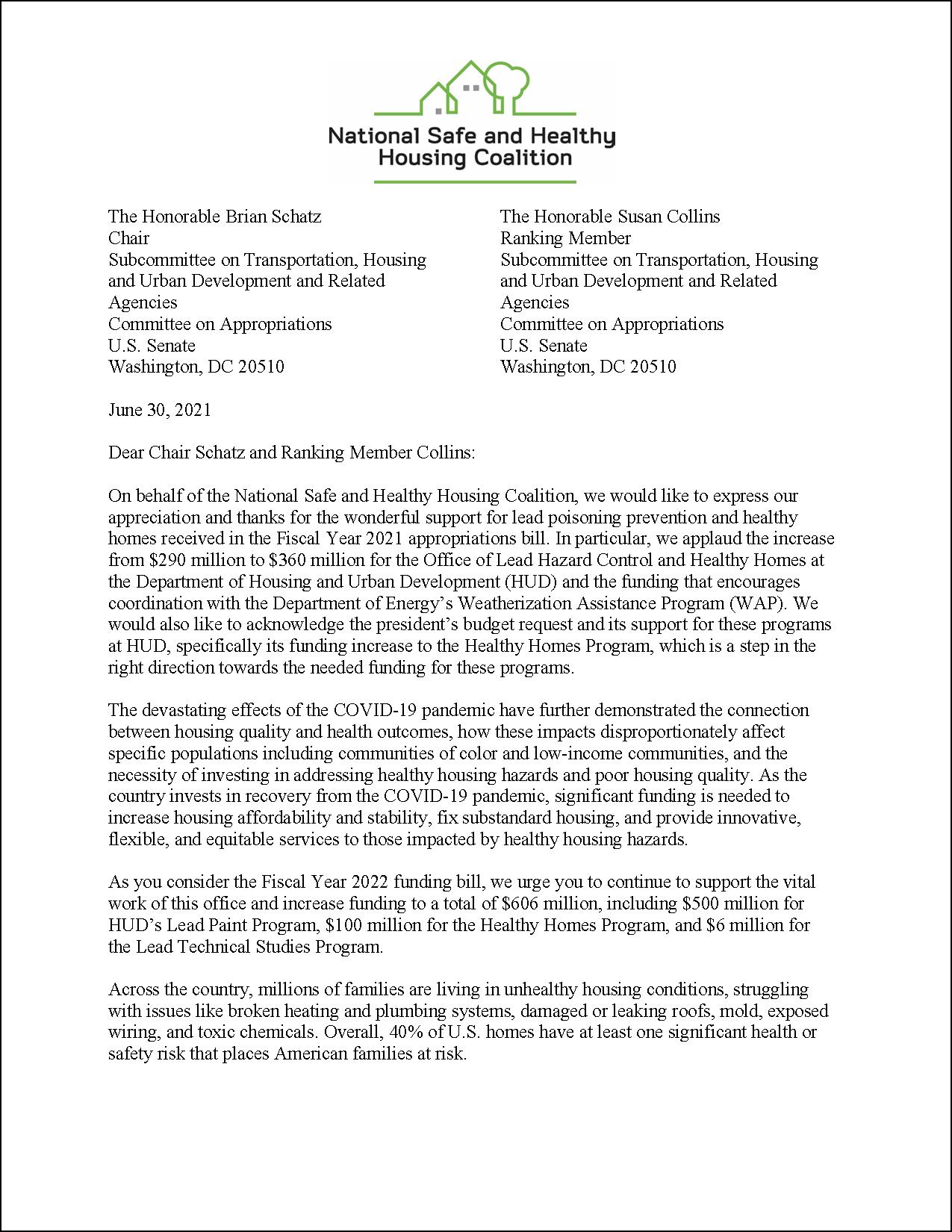 Letter: FY22 Appropriations to U.S. Senate: HUD Programs [2021.06.30] [NSHHC]