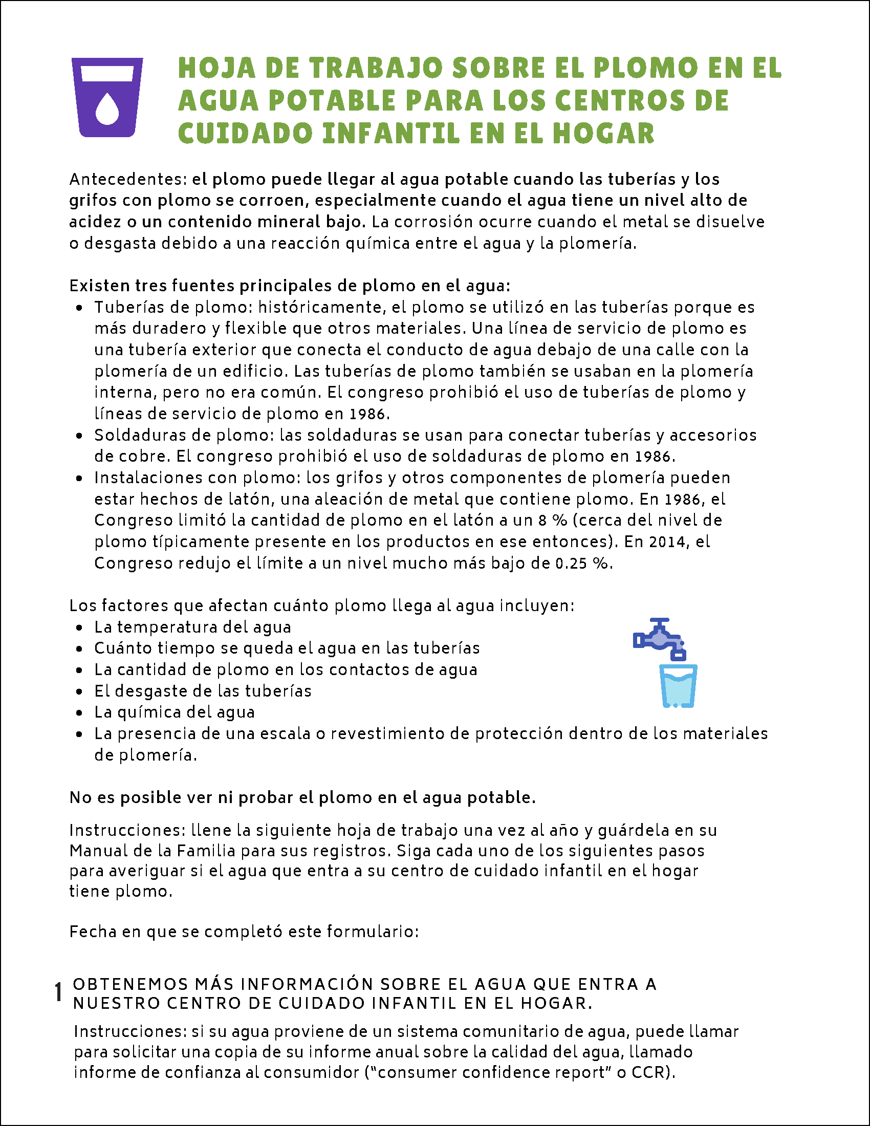 Lead-Safe Toolkit for Home-Based Child Care: Lead in Drinking Water Worksheet